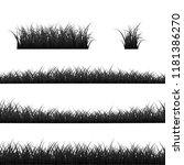grass borders set. black grass... | Shutterstock . vector #1181386270