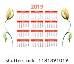 template for calendar 2019 with ... | Shutterstock . vector #1181391019