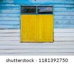 Closed Wooden Window Yellow...