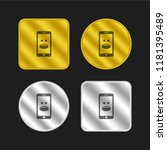 smartphone with emoticon gold...