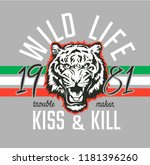 wild life slogan with tiger... | Shutterstock .eps vector #1181396260
