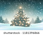 christmas tree with lights in... | Shutterstock .eps vector #1181396866