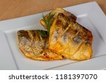 roasted pike perch in the plate | Shutterstock . vector #1181397070