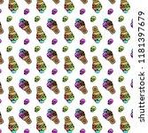skull ice cream pattern icon... | Shutterstock .eps vector #1181397679