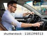 man using navigation system... | Shutterstock . vector #1181398513