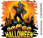 halloween design template with...   Shutterstock .eps vector #1181400496