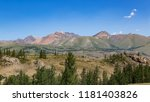 mountain landscape with trees... | Shutterstock . vector #1181403826