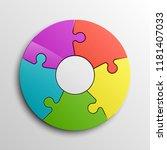 puzzle five piece business...   Shutterstock . vector #1181407033