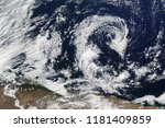 satellite view of huge cyclone. ... | Shutterstock . vector #1181409859
