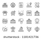 amusement park line icons. set... | Shutterstock .eps vector #1181421736