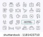hotel icons set. thin line.... | Shutterstock .eps vector #1181423710