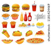 set of colorful fast food icons ... | Shutterstock .eps vector #1181424469