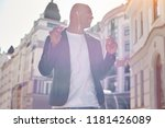 music lover. young man wearing...   Shutterstock . vector #1181426089