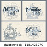 sailing ship floating on the... | Shutterstock .eps vector #1181428270