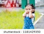 cute little girl asian... | Shutterstock . vector #1181429350