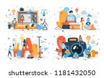 set of people making different... | Shutterstock .eps vector #1181432050