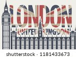 vector postcard with big ben in ... | Shutterstock .eps vector #1181433673