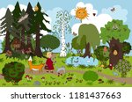 fairy forest of childish dream. ... | Shutterstock .eps vector #1181437663