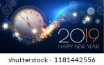 happy hew 2019 year  clock ... | Shutterstock .eps vector #1181442556