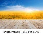 perspective brown wooden board... | Shutterstock . vector #1181451649