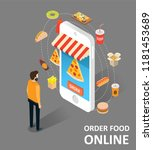 food online vector isometric... | Shutterstock .eps vector #1181453689