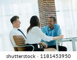 employees discussing new ideas... | Shutterstock . vector #1181453950