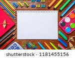 the school stationery and paper ... | Shutterstock . vector #1181455156