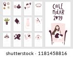 calendar 2019 with hand drawn... | Shutterstock .eps vector #1181458816