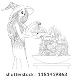 beautiful witch  preparing a... | Shutterstock .eps vector #1181459863