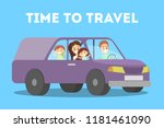happy family in the violet car. ... | Shutterstock .eps vector #1181461090