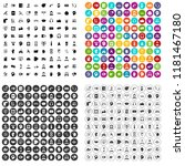 100 support network icons set... | Shutterstock . vector #1181467180