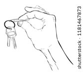 doodle  hand holding a key ... | Shutterstock .eps vector #1181467873