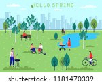 spring park with lake and birch ... | Shutterstock .eps vector #1181470339