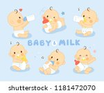 set cute baby feeding milk | Shutterstock .eps vector #1181472070
