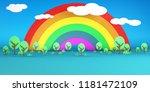 rainbow sky and trees 3d... | Shutterstock . vector #1181472109
