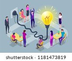 people work in a team and... | Shutterstock .eps vector #1181473819