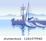 romantic seascape with biker at ...   Shutterstock .eps vector #1181479960
