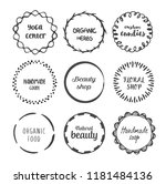 hand drawn circle doodle frames ... | Shutterstock .eps vector #1181484136