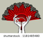 female hands with red open fan. ...   Shutterstock . vector #1181485480