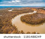 Murray River bends in Riverland region of South Australia - aerial view