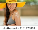 swimsuit concept. beautiful... | Shutterstock . vector #1181490013