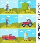 beekeeper and tractor driving... | Shutterstock .eps vector #1181491840