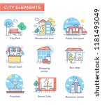 city elements set  thin line... | Shutterstock .eps vector #1181493049