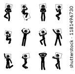stick figure woman sleeping... | Shutterstock .eps vector #1181496730