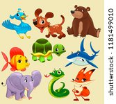 coloured animals collection   Shutterstock .eps vector #1181499010