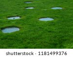 several covers of sewer hatches ... | Shutterstock . vector #1181499376