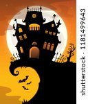 halloween house silhouette... | Shutterstock .eps vector #1181499643