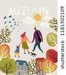 Family In Autumn  Vector...