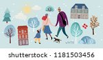 family in winter  vector... | Shutterstock .eps vector #1181503456