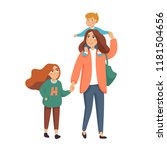 young stylish mother or nanny ... | Shutterstock .eps vector #1181504656